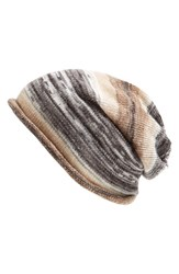 Women's Echo Slouchy Ombre Stripe Beanie Black Black Neutral