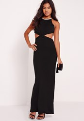 Missguided Embellished Neck Cut Out Maxi Dress Black Black