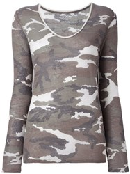 Majestic Filatures Camouflage Scoop Neck Jumper Green