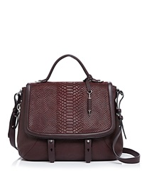 Mackage Caley Embossed Satchel Bordeaux Shiny Nickel