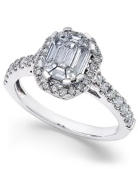 Macy's Diamond Emerald Cut Bridal Ring With Halo 1 Ct. T.W. In 14K White Gold