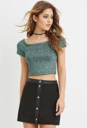 Forever 21 Glitter Knit Crop Top Green