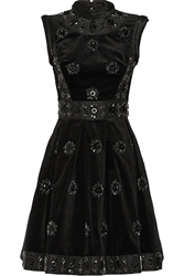 Erdem Justine Embellished Velvet Faille And Jacquard Mini Dress
