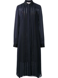 Carolina Herrera Longsleeved Pintuck Shirt Dress Blue