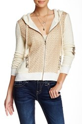 Miss Me Lace Front Zip Hoodie White