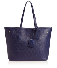 Liberty London Small Navy Iphis Embossed Leather Marlborough Tote Bag