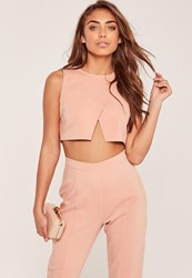 Missguided Petite Wrap Front Crop Top Nude