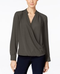 Inc International Concepts Long Sleeve Surplice Blouse Only At Macy's Grey Knight