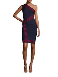 Herve Leger Striped One Shoulder Bandage Dress Indigo Combo
