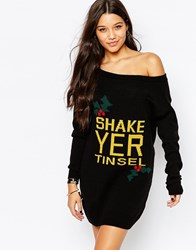 Missguided Shake Yer Tinsel Tunic Black