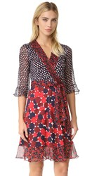 Diane Von Furstenberg Dvf Nieves Wrap Dress Pirouette Dot Navy Montage Rub