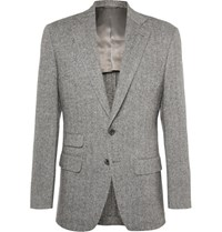 Thom Sweeney Grey Slim Fit Herringbone Wool Suit Jacket Gray