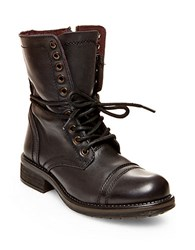 Steve Madden Troopa2 Mid Calf Leather Boots Black