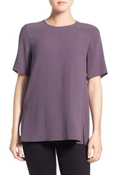 Eileen Fisher Women's Silk Crepe Round Neck Boxy Top Mauve