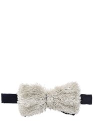Jupe By Jackie Hand Embroidered Cut Loops Bow Tie Silver Navy