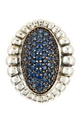 Lagos Muse Sterling Silver Blue Sapphire Pave Fluted Oval Large Ring Size 7