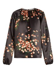Rochas Daisy Print Duchess Satin Top Black Multi
