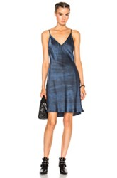 Raquel Allegra Charmeuse Slip Dress In Blue Ombre And Tie Dye Blue Ombre And Tie Dye