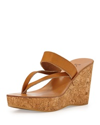 K. Jacques Asymmetric Leather Strap Wedge Sandal