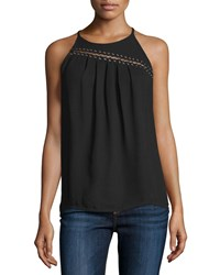 Ramy Brook Zia Sleeveless Pleated Top Black Women's Size Small