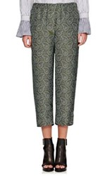 Burberry X Barneys New York Women's Paisley Silk Crop Pajama Pants Green