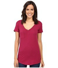 Lamade V Pocket Tee Tissue Jersey Hot Berry Women's Short Sleeve Pullover Purple