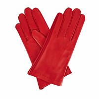 Gizelle Renee Arabella Red Leather Gloves With Red Cashmere