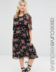 Asos Curve Midi Tea Dress In Dark Floral With Flutter Sleeve Floral Multi