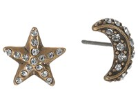 Marc Jacobs Moon Star Studs Earrings Crystal Antique Gold Earring Clear