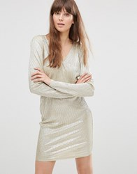 Vero Moda Voss Long Sleeve Metallic Dress Gold