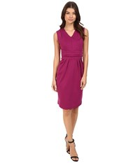 Christin Michaels Kassandra V Neck Ponte Dress With Cinched Waist Magenta Women's Dress Pink