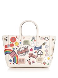 Anya Hindmarch Ebury All Over Stickers Small Leather Tote Cream Multi