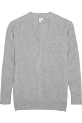Iris And Ink Silvia Ribbed Cashmere Sweater Gray