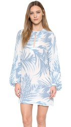 Bcbgmaxazria Adalyn Ruffle Front Dress Light Blue Stone Combo