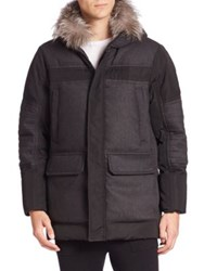 Michael Kors Luxe Flannel Mixed Fox Fur Trimmed Parka Charcoal