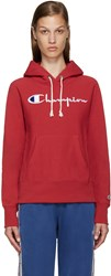 Champion Reverse Weave Red Logo Hoodie