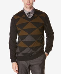 Perry Ellis Men's Intarsia Sweater Black Heather