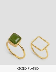Ottoman Hands Lime Agate Square Stacking Ring Gold