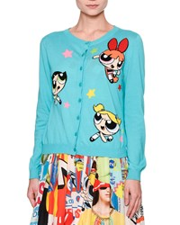 Moschino Powerpuff Girls Button Front Cardigan Light Blue Women's