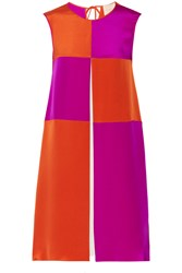 Roksanda Ilincic Farren Color Block Silk And Cotton Blend Jersey Dress Purple