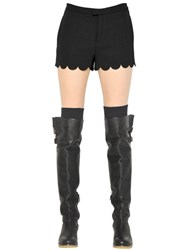 Red Valentino Scallop Trim Crepe Envers Satin Shorts
