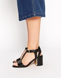 New Look Ravine Mock Croc And Gold Mid Heel Sandals Black
