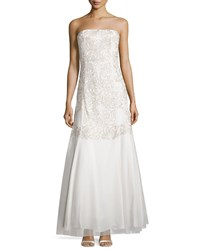 Aidan Mattox Beaded Strapless Mermaid Gown Ivory Silver