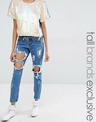 Liquor And Poker Tall Skinny Jeans With Extreme Distressing Ripped Knees Blue