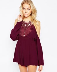 Kiss The Sky Shine Like It Does Playsuit With Cold Shoulder And Fringing Red