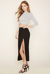 Forever 21 High Slit Ribbed Midi Skirt