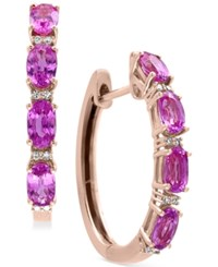 Effy Pink Sapphire 2 1 2 Ct. T.W. And Diamond Accent Hoop Earrings In 14K Rose Gold