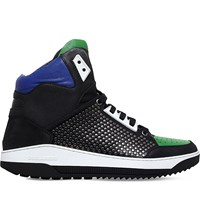 Dsquared2 Multi Mix High Top Leather Trainers Black Comb