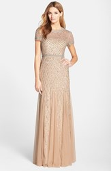 Petite Women's Adrianna Papell Beaded Mesh Gown Champagne