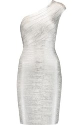 Herve Leger One Shoulder Metallic Bandage Dress Silver